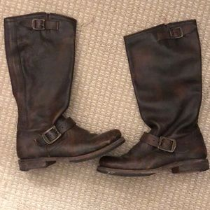 Frye saddle brown leather boots